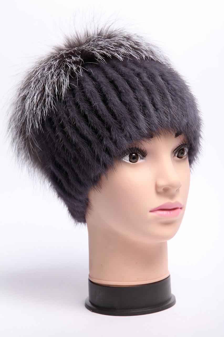 шапка женская вязаная из меха норки и чернобурки цена 1 250 грн