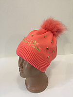 Зимняя шапка р. 52-54 коралл