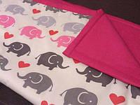 Розовый конверт на выписку, детское одеяло 75*75 см Слоники