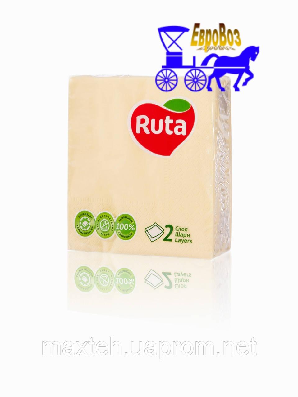 Салфетки RUTA Double Luxe 40 листов двухслойные 24х24 желтые