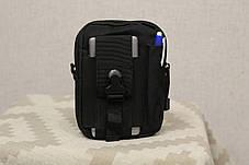 Тактическая универсальная (поясная) сумка - подсумок Mini warrior с системой M.O.L.L.E Black (001-black), фото 2