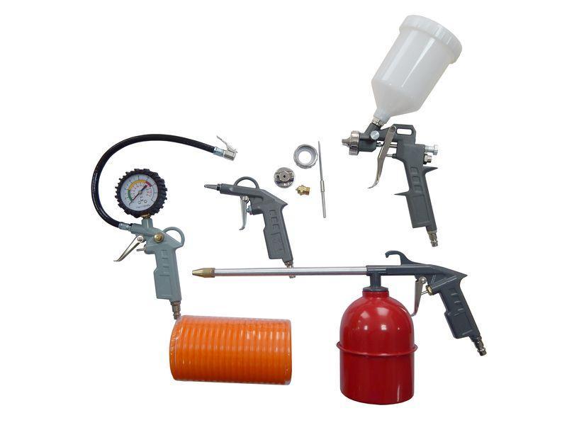 Набор пневмоинструмента 5пр. (краскопульт-сопло 1.5мм+доп.сопло 2.0мм,обдувочник,подкачка,промывка+шланг 5м)