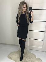 Стильное теплое платье с ангоры, черное