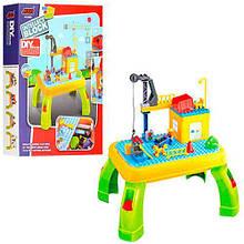 Детский набор столик + конструктор стройплощадка, игровой столик, фигурки, 42дет,