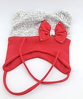 Трикотажная шапка двойная с ушками 48-55р