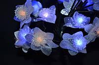 Новогодняя сакура желто-голубая