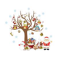 Наклейка новогодняя совы на дереве