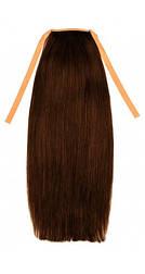 Накладной хвост из славянских волос 50 см. Цвет #04 Шоколад