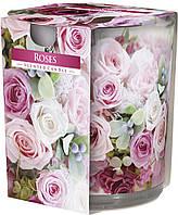 """Арома свеча в стекле высокая """"Розы"""""""