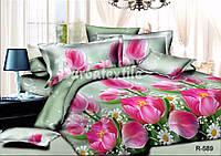 """3D Полуторное постельное белье """"Ranforce"""" розовые тюльпаны"""