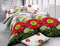 3D Двуспальное постельное белье Ranforce (красные цветы)