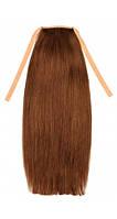 Накладной хвост из славянских волос 70 см, 150 грамм. Цвет #06 Каштановый, фото 1
