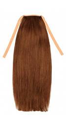 Накладной хвост из славянских волос 50 см. Цвет #06 Каштановый