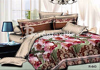 """3D Комплект постельного белья двуспального размера """"Ranforce"""" цветы"""