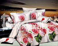 """Двуспальное постельное белье """"Ranforce"""" розы и жемчуг"""