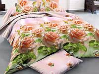 """3D Двуспальное постельное белье """"Ranforce"""" бежевые розы"""