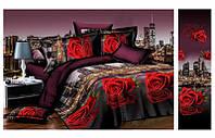 """3D Постельное белье Евро размера """"Ranforce"""" розы"""