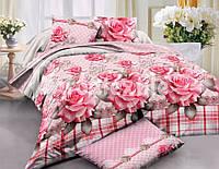 """3D Комплект постельного белья Евро размера """"Ranforce"""" розовые розы"""
