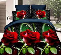 """3D Постельное белье Евро размера """"Ranforce"""" - красные розы"""