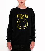Свитшот Nirvana черный с желтым логотипом,унисекс (мужской,женский,детский)