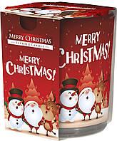 """Арома свеча в стекле высокая """"С Рождеством"""""""