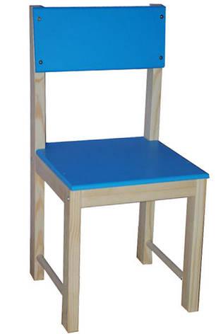 Деревянный детский стульчик со спинкой (сосна) 32 см Голубой, фото 2