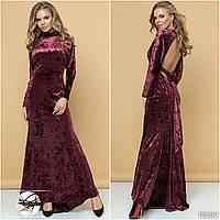 Женское вечернее платье макси из бархата бордового цвета. Модель 16292