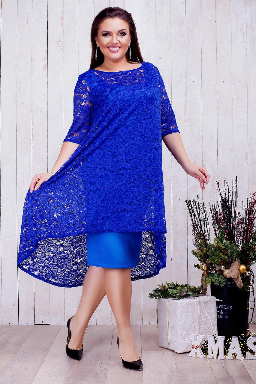 Женское гипюровое платье 2в1 (46-60) 8214