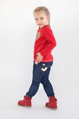 Модный карапуз ТМ Джинсы для девочки с вставками из золотистой кожи
