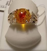 Кольцо  Огонек с желтым янтарем из серебра с золотом