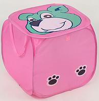 "Корзина для игрушек F 21507 (120) ""Мишка"" розовая 46х46см, фото 1"