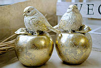 Декоративная статуэтка Птичка на яблоке 11.5см, 2 вида, цвет - золото