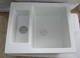 Гранитная кухонная мойка Fancy Marble Arizona (1,5 чаши),белая размер 600х500х215 мм