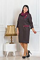 Деловое женское платье с платком, бордовое