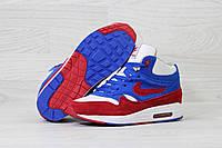 Зимние кроссовки Nike Air Max 87 код 3717 синие с белым