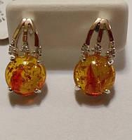 Серьги Огонек из серебра с золотыми напайками и желтым янтарем