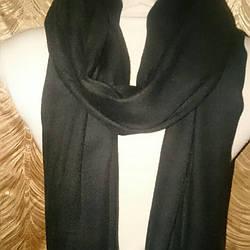 Шарф унисекс чёрного цвета шерсть +шёлк 200*75