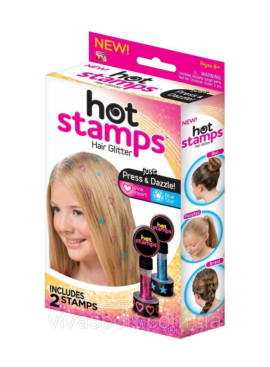 Блестящие тату для волос Hot Stamps, цветные тату Хот Стемпс