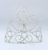 Свадебная Корона металлическая с камнями и стразами серебристого цвета