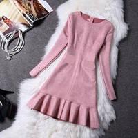 Платье замш пудра 8805 размер L