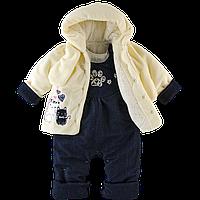 Теплый комплект из махры и джинса на синтепоне для девочки 74 размер. 3в1 куртка, полукомбинезон, шарф