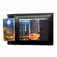 Мужской кошелек с зажимом для купюр. Черный и коричневый, фото 1