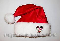 """Новорічна Шапка Дитяча Діда Мороза Ковпак Санта Клауса Santa Claus з """"Оленем""""дівчинка"""