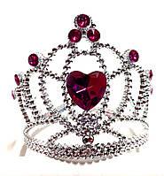 Корона принцессы, малиновые кристаллы, высота 9 см, пластик