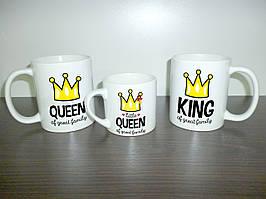 """Кружки для всей семьи """"King & Queen"""" папа, мама, дочь"""