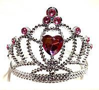 Корона принцессы, розовые кристаллы, высота 9 см, пластик