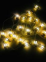 Новогодняя герлянда золотой фонарь 3 м. 20 LED
