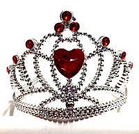 Корона принцессы, красные кристаллы, высота 9 см, пластик