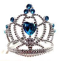 Корона принцессы, бирюзовые кристаллы, высота 9 см, пластик