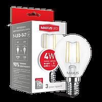 Светодиодная лампа 4W G45 Е14 MAXUS 3000К/4100К (FILAM)